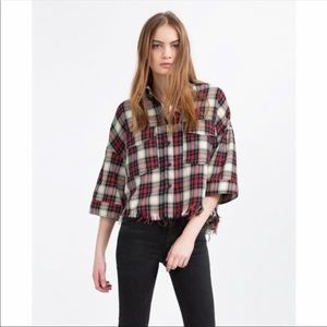 Zara cropped plaid shirt